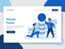 Plantilla de aterrizaje de la página del concepto del ejemplo del hombre de negocios y de los fondos mutuos Concepto de diseño pl libre illustration