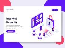 Plantilla de aterrizaje de la página del concepto del ejemplo de la seguridad de Internet Concepto de diseño plano isométrico del stock de ilustración