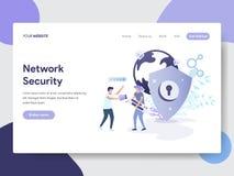 Plantilla de aterrizaje de la página del concepto del ejemplo de la seguridad de la red Concepto de diseño plano moderno del dise ilustración del vector