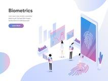 Plantilla de aterrizaje de la página del concepto isométrico del ejemplo de la tecnología de la biométrica Concepto de dise?o pla ilustración del vector