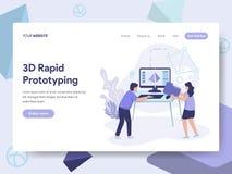 Plantilla de aterrizaje de la página del concepto rápido del ejemplo de la creación de un prototipo 3d Concepto de diseño plano i libre illustration