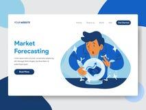 Plantilla de aterrizaje de la página del pronóstico de mercado con Crystal Ball Illustration Concept Concepto de diseño plano mod libre illustration