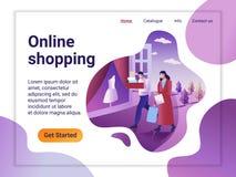 Plantilla de aterrizaje de la página de las compras en línea El concepto de diseño plano del diseño de la página web para una pág stock de ilustración