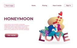 Plantilla de aterrizaje de la página de pares con la luna de la miel que fecha concepto del ejemplo de los Apps Concepto de diseñ libre illustration