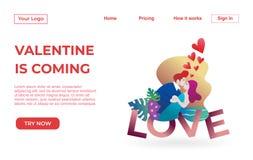 Plantilla de aterrizaje de la página de pares con Valentine Dating Apps Illustration Concept Concepto de diseño plano moderno del ilustración del vector