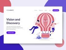 Plantilla de aterrizaje de la página de Vision y del concepto del ejemplo del descubrimiento Concepto de diseño plano isométrico  libre illustration
