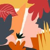 Plantilla de Autumn Leaves Abstract Square Card ilustración del vector