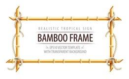 Plantilla de bambú del marco para el letrero tropical libre illustration