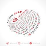 Plantilla de 2018 calendarios Calendario espiral Calendario 2018 Imágenes de archivo libres de regalías