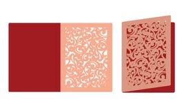 Plantilla de corte del laser Birdcage con los pájaros en el follaje Laser que corta la tarjeta triple de las tarjetas del día de  ilustración del vector