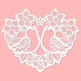 Plantilla de corte del laser Corazón de flores stock de ilustración