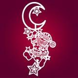 Plantilla de corte del laser Santa Claus con las estrellas y la luna stock de ilustración