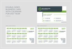 Plantilla de doble cara de la tarjeta de visita con el calendario por 2017 años Imagen de archivo libre de regalías