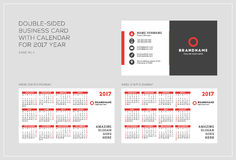 Plantilla de doble cara de la tarjeta de visita con el calendario por 2017 años La semana comienza lunes La semana comienza domin Foto de archivo