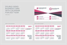 Plantilla de doble cara de la tarjeta de visita con el calendario por 2017 años La semana comienza lunes La semana comienza domin Foto de archivo libre de regalías