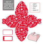 Plantilla de empaquetado del regalo de la Navidad El favor, caja de regalo muere Cu ilustración del vector