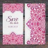 Plantilla de encaje de la invitación de boda del vector Invi romántico de la boda del vintage Imagenes de archivo