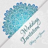 Plantilla de encaje de la invitación de boda del vector Invitación romántica de la boda del vintage Ornamento floral del círculo  Imagen de archivo