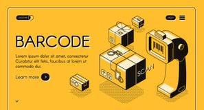 Plantilla de exploración del vector de la página web del servicio del código de barras stock de ilustración