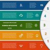 Plantilla de Infographic con áreas de texto en cinco posiciones stock de ilustración