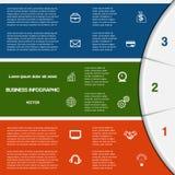 Plantilla de Infographic con áreas de texto en tres posiciones stock de ilustración