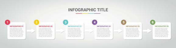 Plantilla de Infographic con el estilo encajonado de la caja para el paso o cronología de proceso con diverso color con 6 el paso libre illustration