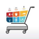 Plantilla de Infographic con la bandera del rompecabezas del carro de la compra. concepto