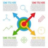 Plantilla de Infographic con las flechas del centro y de iconos Imagen de archivo libre de regalías