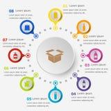 Plantilla de Infographic con los iconos de empaquetado Fotografía de archivo