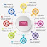 Plantilla de Infographic con los iconos de la escuela Imagen de archivo