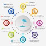 Plantilla de Infographic con los iconos de la playa Imagenes de archivo