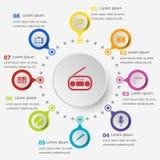 Plantilla de Infographic con los iconos del entretenimiento Imagen de archivo libre de regalías