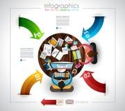 Plantilla de Infographic con los iconos planos de UI para la graduación del ttem Fotografía de archivo