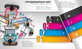 Plantilla de Infographic con los iconos planos de UI para la graduación del ttem Foto de archivo