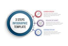 Plantilla de Infographic con tres pasos Imágenes de archivo libres de regalías