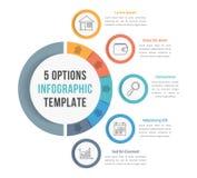 Plantilla de Infographic de 5 opciones ilustración del vector