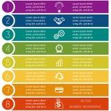 Plantilla de Infographic de tiras coloridas ocho posiciones Fotografía de archivo libre de regalías