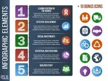 Plantilla de Infographic o bandera gradual del sitio con los iconos integrados libre illustration