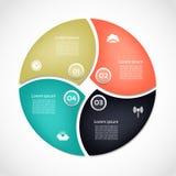 Plantilla de Infographic para el negocio Cuatro pasos que completan un ciclo el diagrama Imagen de archivo
