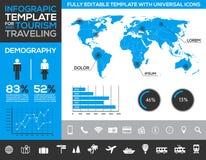 Plantilla de Infographic para el turismo, viajar y el transporte del día de fiesta con las cartas y los diagramas stock de ilustración