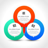 Plantilla de Infographics con con tres banderas circulares stock de ilustración