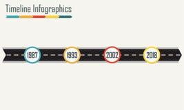 Plantilla de Infographics de la cronología con la flecha de la carretera de asfalto Elementos horizontales del diseño Ilustración libre illustration
