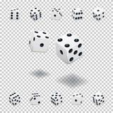 Plantilla de juego de los dados Cubos blancos en diversas posiciones respecto a fondo transparente Ilustración del vector stock de ilustración