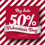 Plantilla de la bandera de la casilla blanca roja y para la venta en el ` s de la tarjeta del día de San Valentín libre illustration