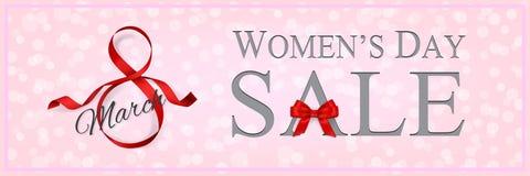 Plantilla de la bandera de la venta del día del ` s de las mujeres con la cinta y el arco rojos Ilustración del vector libre illustration