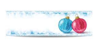 Plantilla de la bandera del Año Nuevo con la bola de la Navidad y el marco de la plata Imagenes de archivo