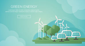 Plantilla de la bandera del concepto de la ecología en diseño plano Imágenes de archivo libres de regalías