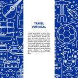 Plantilla de la bandera del concepto de Portugal del viaje en la línea estilo stock de ilustración