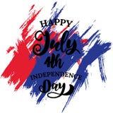 Plantilla de la bandera del fondo de las letras del vintage del Día de la Independencia stock de ilustración