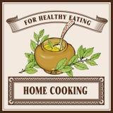 Plantilla de la bandera del logotipo de la cocina casera Gachas de avena en pote de cerámica ilustración del vector